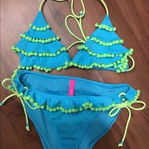 VICTORIA'S SECRET SzL bikini bluew/lime green ball